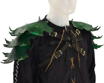 Elven Leaf Leather Pauldron Harness - Elf Armor - #DK5107