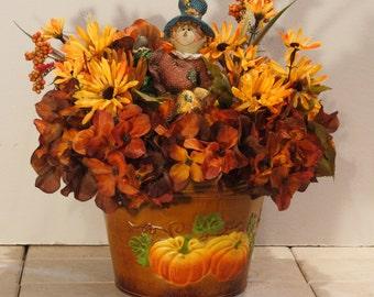 Fall Boy Scarecrow Glittered Pumpkin Orange Brown Hydrangea Arrangement PamsDeZines Scarecrow On Pumpkin Floral Arrangement   (Item 170)