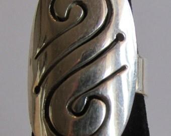 Handmade Swirl Design Sterling Silver Ring  Size 7 1/2
