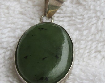 Sterling Silver and Green Cab Pendant