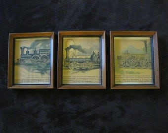 "Set of 3 Vintage Locomotive Railroad Prints 5.75"" x 4.75"""