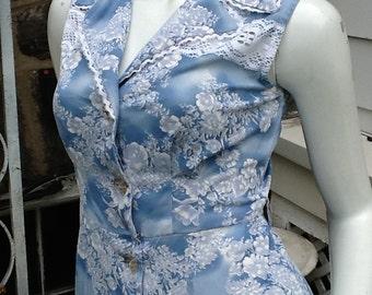 Blue Micro Mini Dress See Thru Lace Insert Boho S/36