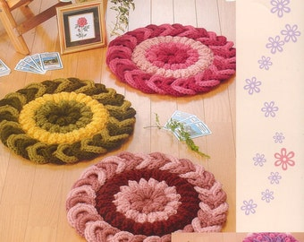 Crochet mats patterns - crochet rugs patterns - crochet patterns -japanese craft book - pattern - PDF - Instant Download