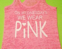 On Wednesday We Wear Pink.Womens Workout tank top. Fitness Tank Top.Womens Burnout tank Top.Running  tank top