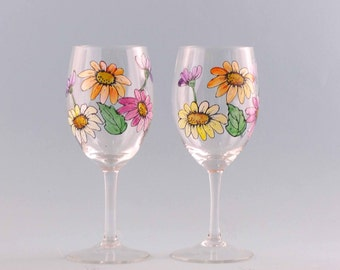 Hand Painted Fall Wine Glasses - Fall Wine Glasses - Beautiful Fall Colors - Set of Two
