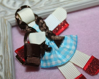 Dorothy (Wizard of Oz) Ribbon Sculpture Hair Clip