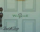 "Door ""Welcome"" Decal With Natural Ears Great Dane Head In Two Colors From DaneArt Design"