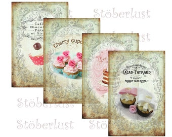 Instant DOWNLOAD  4 x Postcards cupcakes, shabby background french ephemera