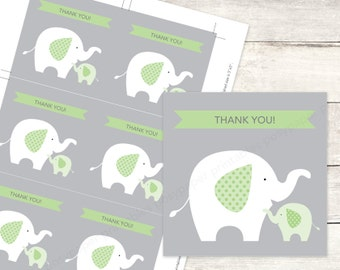 elephant baby shower favor tags printable DIY baby elephants favour tags bright green grey cute thank you cards - INSTANT DOWNLOAD