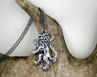 Lion Pendant Necklace, Fantasy, Royal, Heraldic, Medieval (Large)