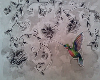 hummingbird warecolor tattoo inspired