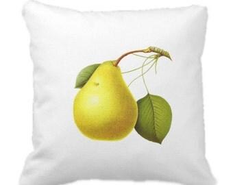 Pears Fruit Throw Pillow Vintage Botanical Print Pillow Novelty Pillow Cottage Decor Nursery Decor