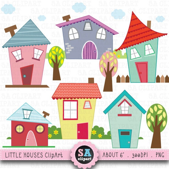 Clip Art Clipart Houses house clip art etsy little houses digital set clipart cute perfect for scrapbookinginvitationsparty card bd001