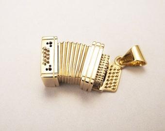 Custom made gold accordion pendant