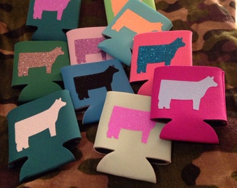 Coozies many colors with glitter vinyl cows great for the show cattle lover