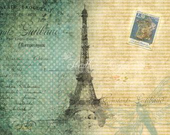 Digital art print, paris vintage download