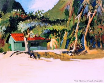 Plein Air Landscape Painting in Tahiti - Giclee Print of Original - Moorea, French Polynesia, Tahiti