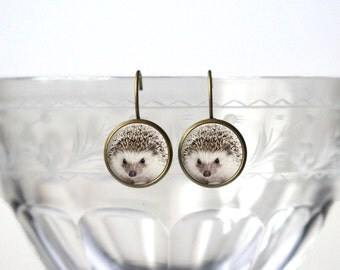 Hedgehog Earrings - Hedgehog Jewelry - Cute Animal Picture Gifts for Her