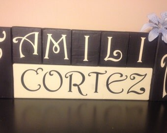 Personalized Wooden Family Name Blocks