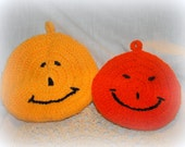 Vintage Set of 2 Crotchet Coasters / Trivet / Pot Holders Smiling Pumpkin