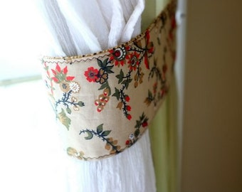 Curtain Tie Backs Reversable Brown Tan Red Green Set