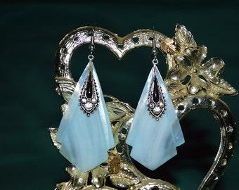 Beautiful Vintage Soft Blue Mother of Pearl, Black Enamel and Rhinestone  Earrings (1017043)
