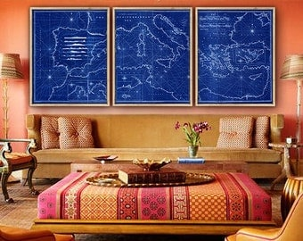 "Map of Mediterranean 1797, Large old Mediterranean Sea map, 5 sizes up to 108x45"" (270x110 cm) in 1 or 3 parts - Limited Edition of 100"