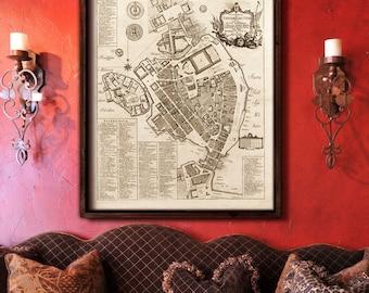 "Stockholm map 1771, Old map of Stockholm, 4 sizes up to 36x43"" (90x110 cm) Vintage map of Stockholm, Sweden,  - Limited Edition - Print 3"