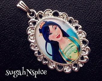 Disney Princess Mulan Necklace Pendant Cabochon for Chunky Bubblegum necklaces