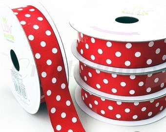 "10 Yard Red Polka Dot Grosgrain Ribbon - 7/8"" x 10 Yards"