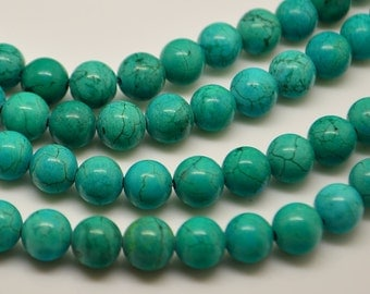 15 Inch  Green Turquoise 8MM  Round Bead