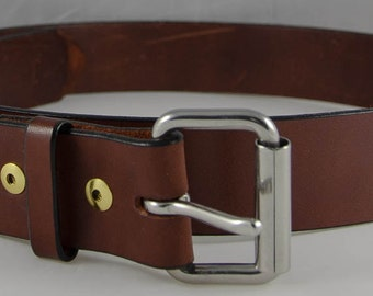 Bridle Leather Work Belts with Stainless Steel Roller Buckle