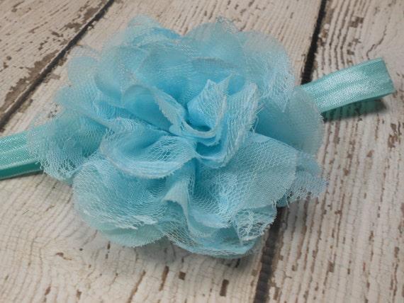 Blue  Frayed Lace,Chiffon flower Baby Headband, Newborn Headband,  Infant Headband,Baby Headband, Headband Baby, Baby Headband