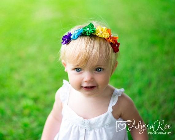 Rainbow Satin flower Baby Headband, Newborn Headband, Baptism Headband, Infant Headband,Baby Headband, Headband Baby, White Baby Headband