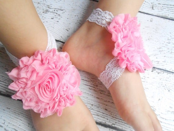 Pink Flower  Baby Barefoot Sandals ,Shabby Flowers with Elastic , Toddler Sandals ,Newborn Sandals ,Baby Flower Sandals