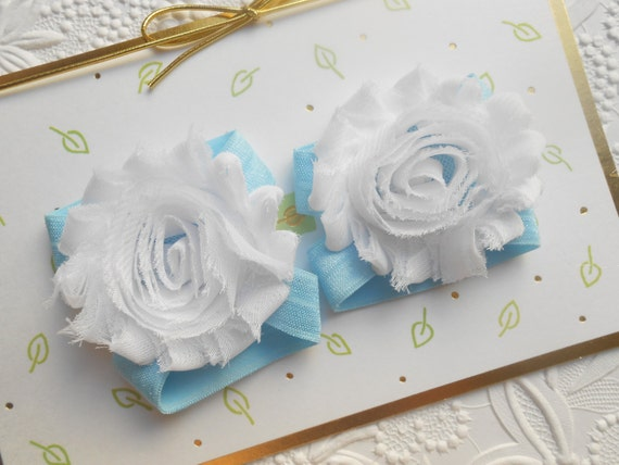 White flower Baby Barefoot Sandals ,Shabby Flowers with blue Elastic , Toddler Sandals ,Newborn Sandals ,Baby Flower Sandals