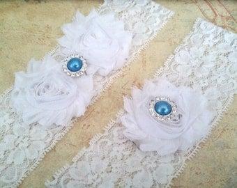 White Bridal Garter Set, Something Blue Stretch Lace Garter,  Keepsake Garter, Toss Garter, White Wedding Garter Set, Bridal Garter