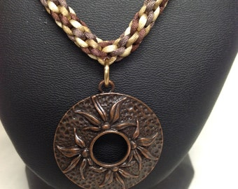 Braided Kumihimo Pendant Chain Necklace