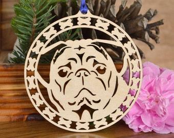Pug ornament wood-cut dog decoration wood dog ornament