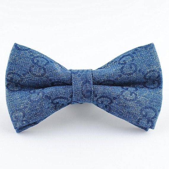 denim bow tie small patterned blue bow tie mens bow tie