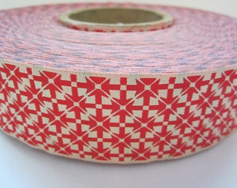 1 Yard Red and White Ribbon Trim