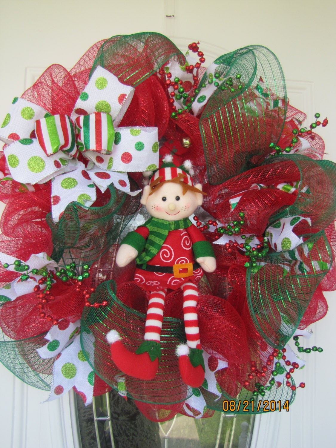 Elf Christmas Wreath -Deco mesh Christmas wreath-Santa's Helper Wreath