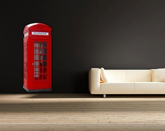 Red Phone Box Full Colour Wall Decal Sticker England British Telephone