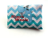 Shark Week, period pouch, first period gift. funny tampon wallet, menstruation kit, periods suck, tampons, pads, menstrual cups, period puns