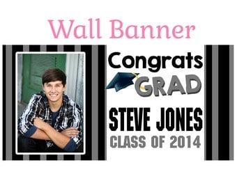 Graduation Photo Banner ~ Personalize Party Banners Indoor or Outdoor Elegant Class of 2017