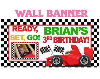 Birthday Race Car Photo Banner ~ Personalized Party Banners Indoor or Outdoor Racing ~ Red Race Car, Printed Birthday Banner, Custom Banner