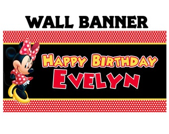 Happy Birthday Banner Red Minnie Mouse~ Personalize MInnie Party Banners Large Party Banner