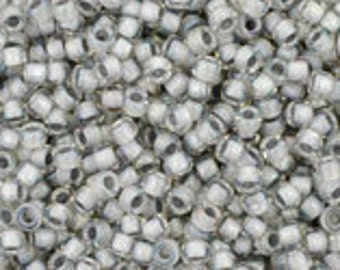 TOHO Size 15 Seed Beads - Inside Colour Rainbow Crystal/Grey Lined - Pack 5 grams - 15/261
