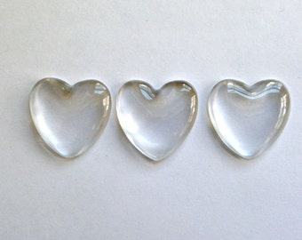 QTY 10 - Clear glass heart cabochons - 1 inch 25mm