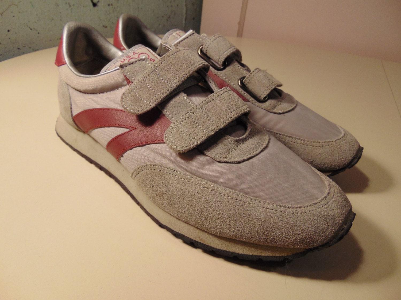 80s velcro tennis shoes gray maroon s 8 5 d
